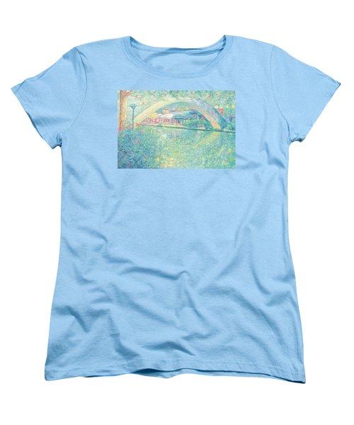 Women's T-Shirt (Standard Cut) featuring the painting San Antonio Riverwalk by Felipe Adan Lerma