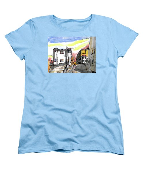 Women's T-Shirt (Standard Cut) featuring the painting San Francisco Side Street by Terry Banderas