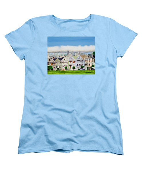 San Francisco's Painted Ladies Women's T-Shirt (Standard Cut) by Mike Robles