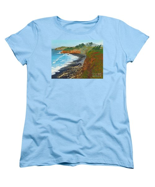 Women's T-Shirt (Standard Cut) featuring the painting San Simeon Ca Coast by Katherine Young-Beck
