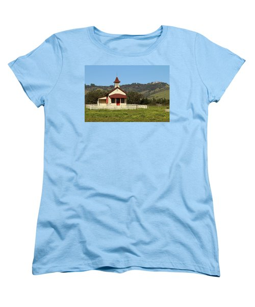 Women's T-Shirt (Standard Cut) featuring the photograph San Simeon - Castle And Schoolhouse by Art Block Collections