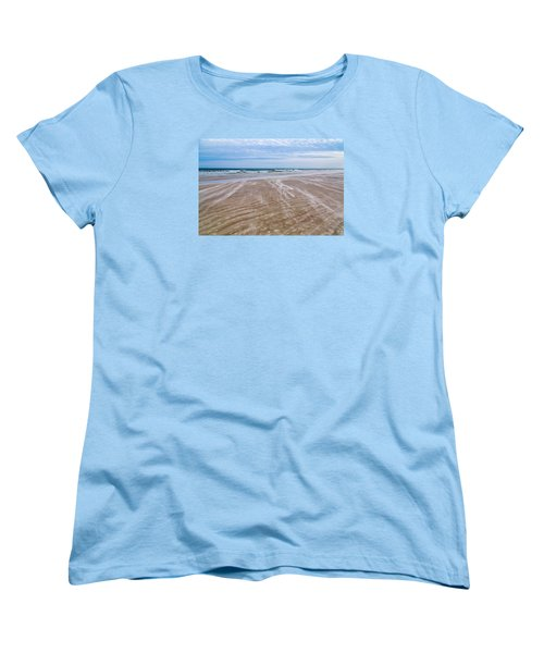 Women's T-Shirt (Standard Cut) featuring the photograph Sand Swirls On The Beach by John M Bailey