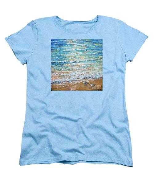 Sanderlings Women's T-Shirt (Standard Cut) by Linda Olsen