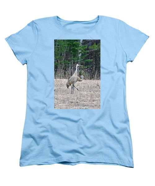 Women's T-Shirt (Standard Cut) featuring the photograph Sandhill Cranes 1166 by Michael Peychich