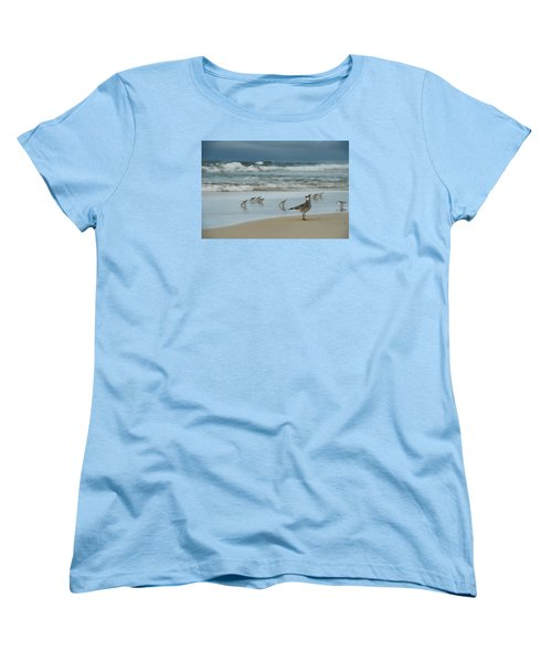 Women's T-Shirt (Standard Cut) featuring the photograph Sandpiper Beach by Renee Hardison