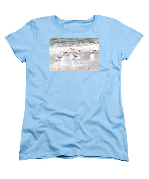 Sandpipers On Siesta Key Women's T-Shirt (Standard Cut) by Shawn McLoughlin