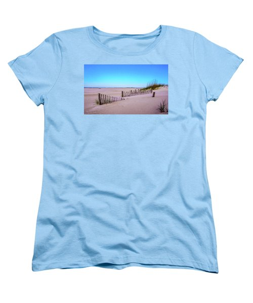 Sand  Fences On The Bogue Banks Women's T-Shirt (Standard Cut) by John Harding