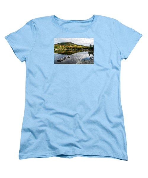 Reflection Sandy Stream Pond Me. Women's T-Shirt (Standard Cut) by Michael Hubley