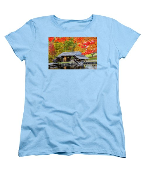 Sawmill Reflection, Autumn In New Hampshire Women's T-Shirt (Standard Cut) by Betty Denise