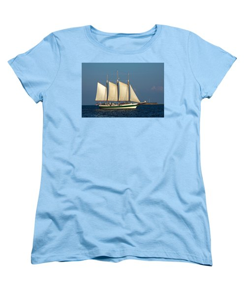 Schooner By Fort Sumter Women's T-Shirt (Standard Cut) by Sally Weigand
