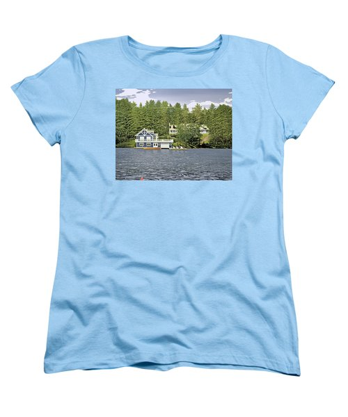 Women's T-Shirt (Standard Cut) featuring the painting Schultz Summer Home Muskoka by Kenneth M Kirsch