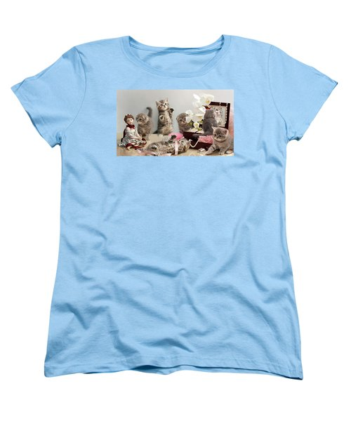 Women's T-Shirt (Standard Cut) featuring the photograph Scottish Fold Cats by Evgeniy Lankin