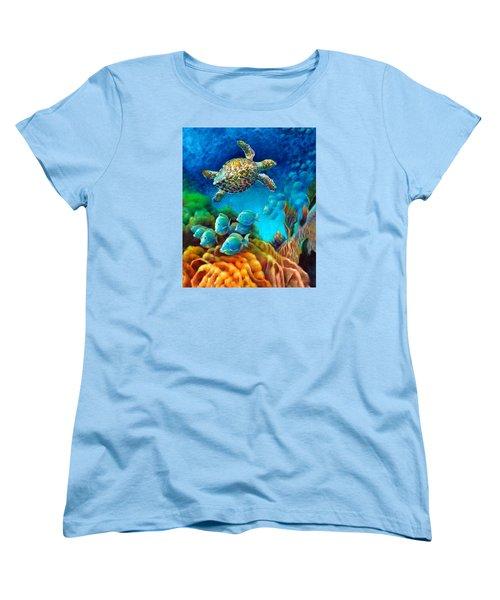 Women's T-Shirt (Standard Cut) featuring the painting Sea Escape IIi - Gemstone Hawksbill Turtle by Nancy Tilles