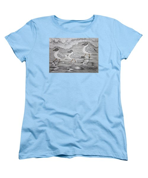 Sea Gulls Dodging The Ocean Waves Women's T-Shirt (Standard Cut) by Kathy Marrs Chandler