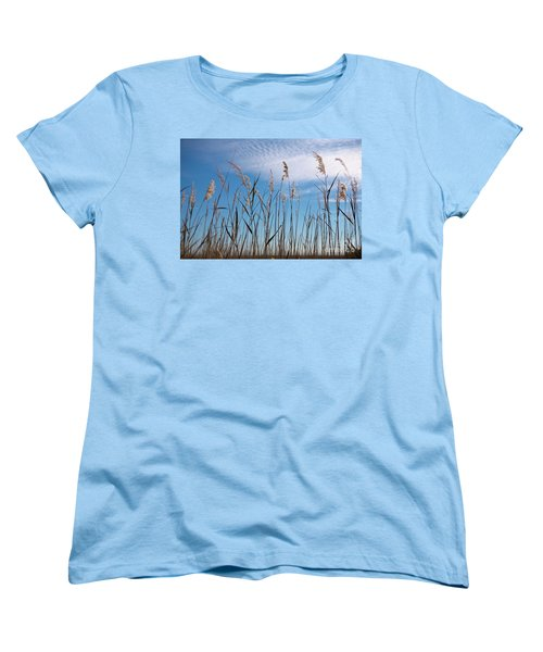 Women's T-Shirt (Standard Cut) featuring the photograph Sea Oats And Sky On Outer Banks by Dan Carmichael