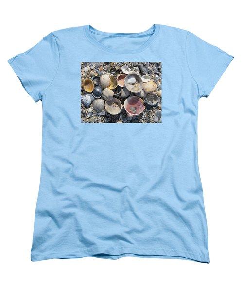 Sea Shell Mozaic Women's T-Shirt (Standard Cut) by Ellen Meakin
