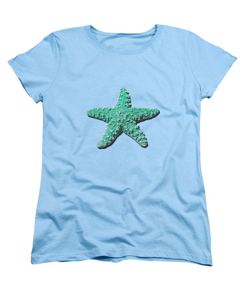Women's T-Shirt (Standard Cut) featuring the photograph Sea Star Aqua .png by Al Powell Photography USA