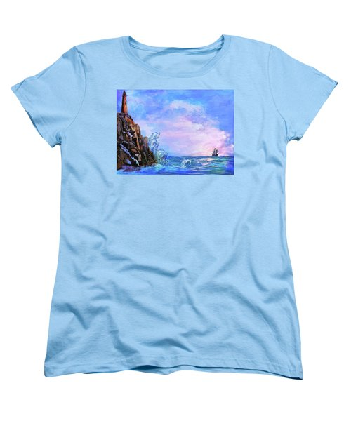Women's T-Shirt (Standard Cut) featuring the painting Sea Stories 2  by Andrzej Szczerski