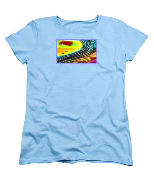 Women's T-Shirt (Standard Cut) featuring the painting Sea by The Art of Alice Terrill