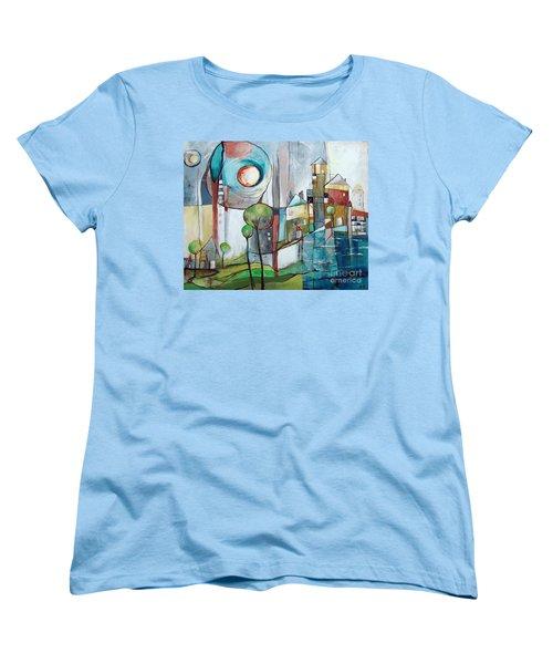 Sea Town Women's T-Shirt (Standard Cut) by Karin Husty