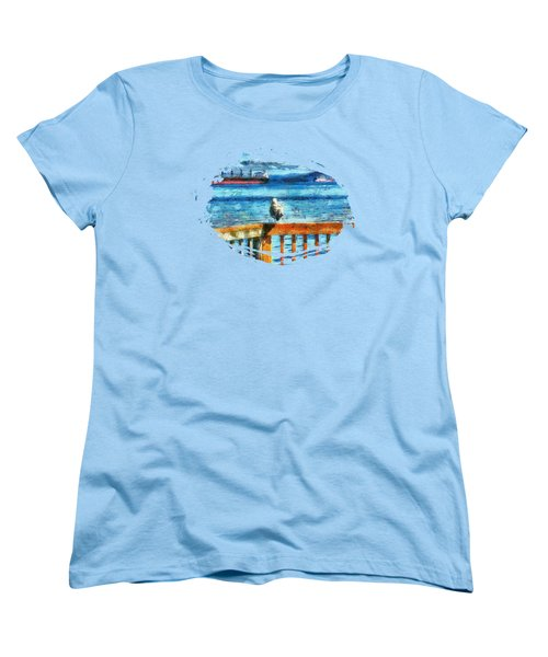 Seagull In Astoria  Women's T-Shirt (Standard Cut) by Thom Zehrfeld