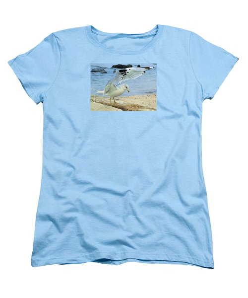 Women's T-Shirt (Standard Cut) featuring the photograph Seagull On The Beach by Nina Bradica