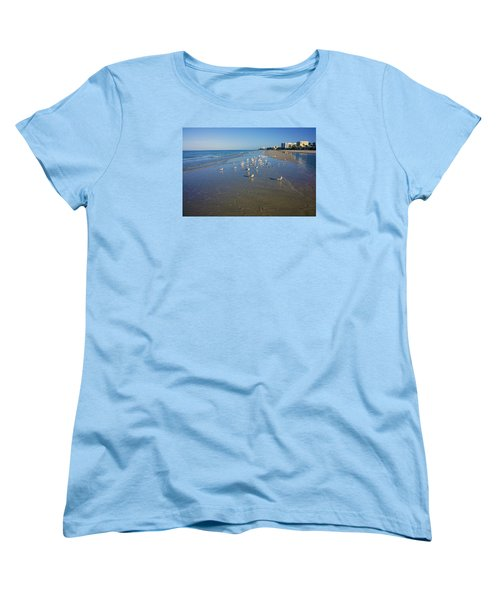 Women's T-Shirt (Standard Cut) featuring the photograph Seagulls And Terns On The Beach In Naples, Fl by Robb Stan