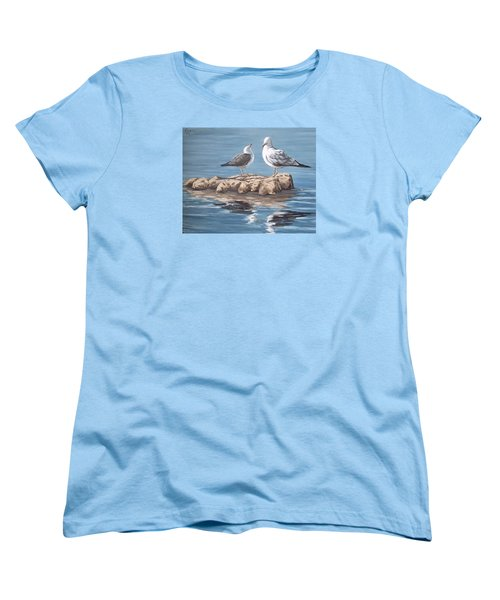 Women's T-Shirt (Standard Cut) featuring the painting Seagulls In The Sea by Natalia Tejera