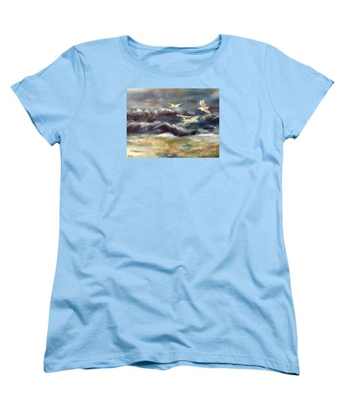 Women's T-Shirt (Standard Cut) featuring the painting Seaside Serenade by Denise Tomasura