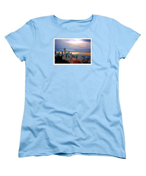 Seattle At Sunset Text Seattle Women's T-Shirt (Standard Cut) by Elaine Plesser