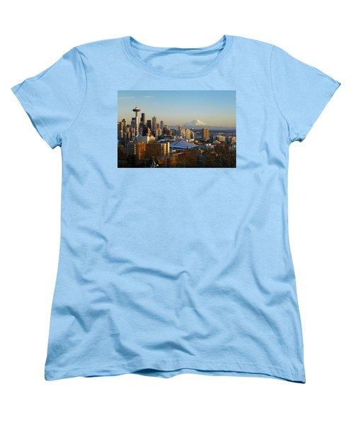 Seattle Cityscape Women's T-Shirt (Standard Cut) by Greg Vaughn - Printscapes