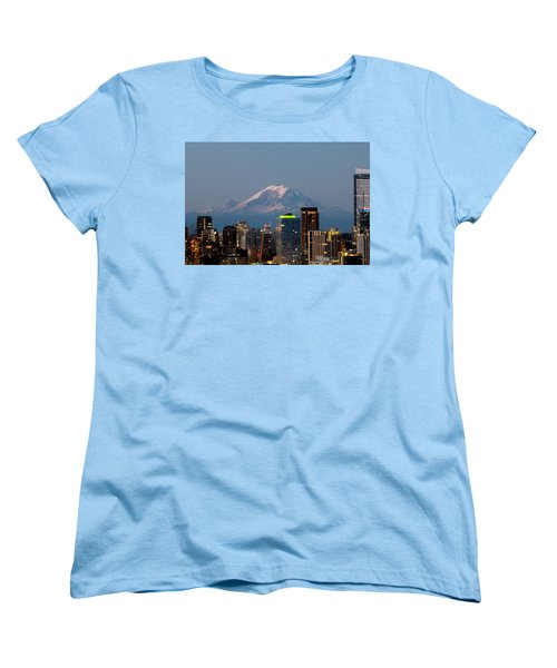Seattle-mt. Rainier In The Morning Light.2 Women's T-Shirt (Standard Cut) by E Faithe Lester