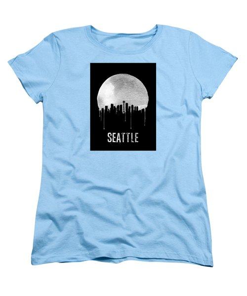 Seattle Skyline Black Women's T-Shirt (Standard Cut) by Naxart Studio