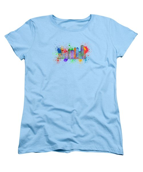 Seattle Skyline Paint Splatter Color Illustration Women's T-Shirt (Standard Cut) by Jit Lim