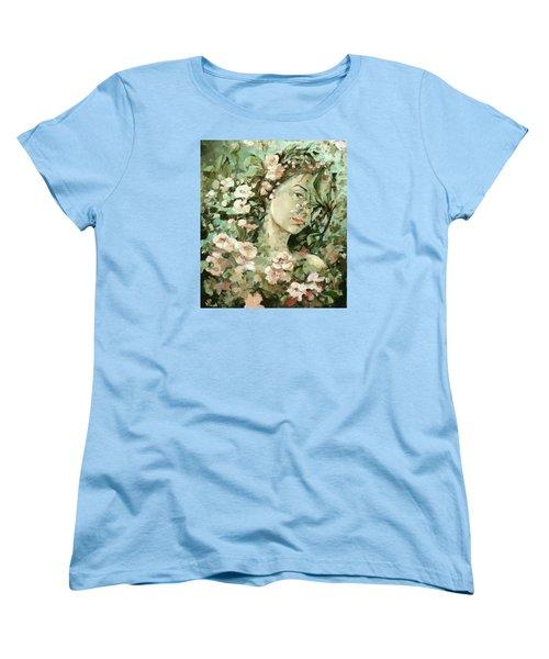 Self Portrait With Aplle Flowers Women's T-Shirt (Standard Cut) by Vali Irina Ciobanu