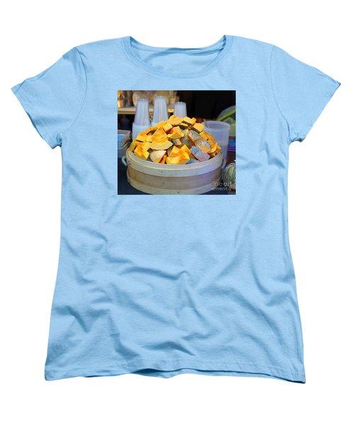 Women's T-Shirt (Standard Cut) featuring the photograph Selling Fresh Pumpkin Shakes by Yali Shi