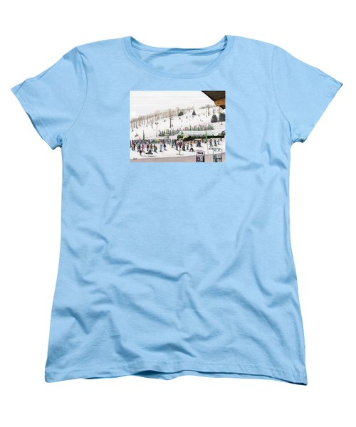 Women's T-Shirt (Standard Cut) featuring the painting Seven Springs Stowe Slope by Albert Puskaric