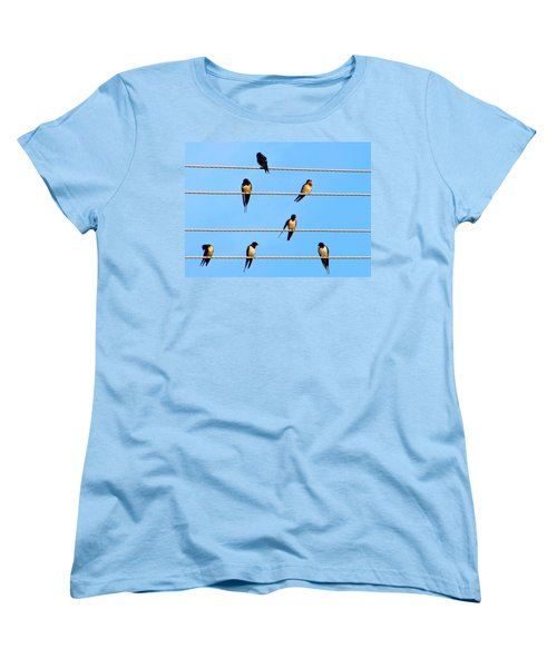 Women's T-Shirt (Standard Cut) featuring the photograph Seven Swallows by Ana Maria Edulescu