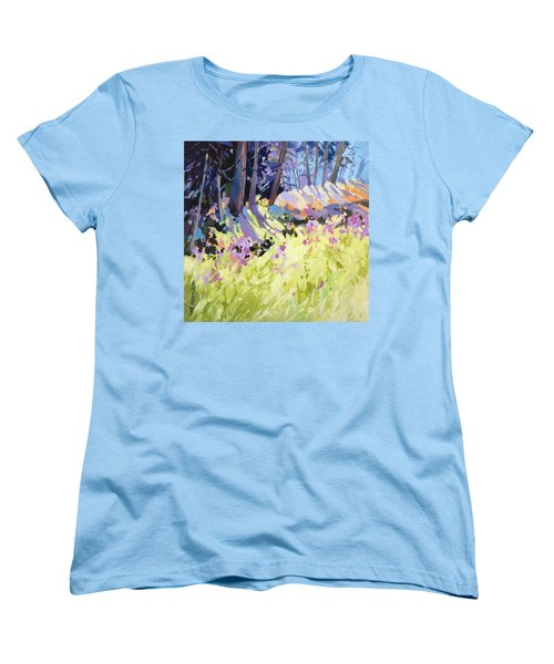 Women's T-Shirt (Standard Cut) featuring the painting Shadow Dance Alaska by Rae Andrews