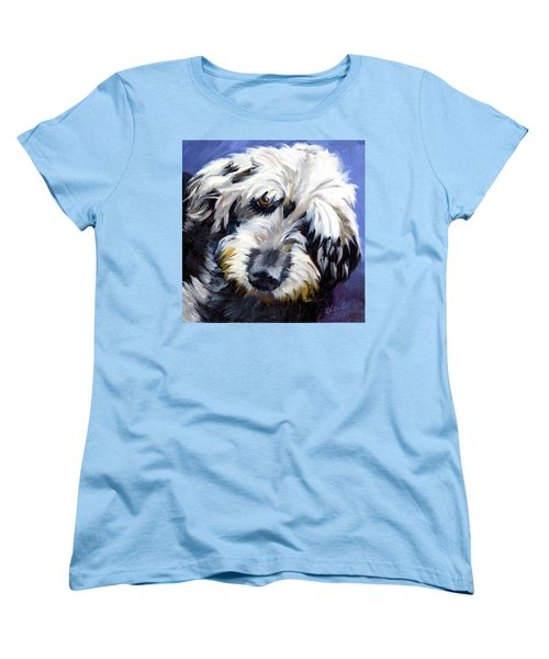 Shaggy Dog Portrait Women's T-Shirt (Standard Cut) by Alice Leggett