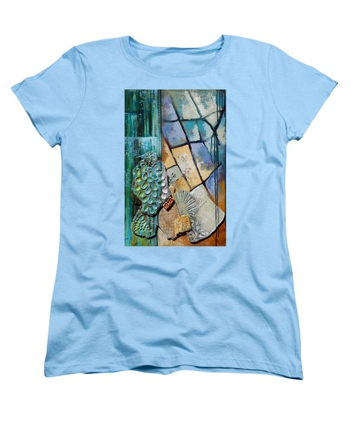 Women's T-Shirt (Standard Cut) featuring the painting Shards Water Clay And Fire by Suzanne McKee