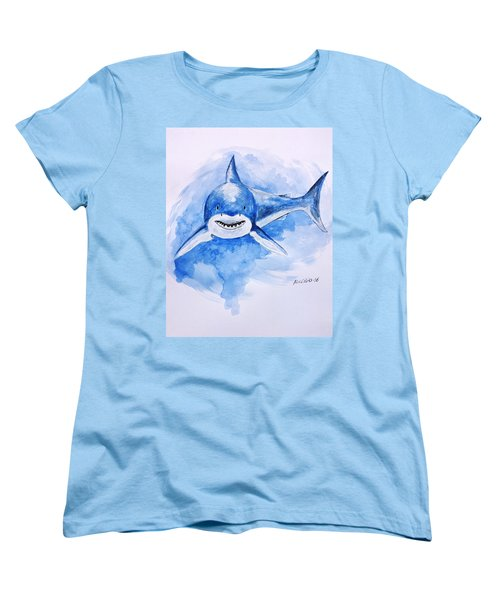 Women's T-Shirt (Standard Cut) featuring the painting Shark by Edwin Alverio