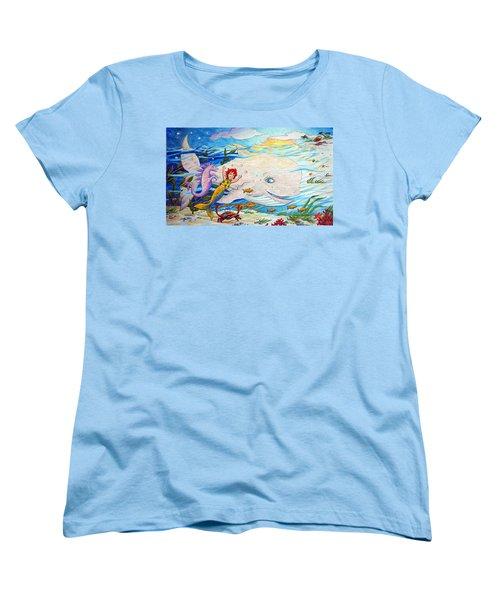 Women's T-Shirt (Standard Cut) featuring the painting She Joyfully Swims  by Matt Konar