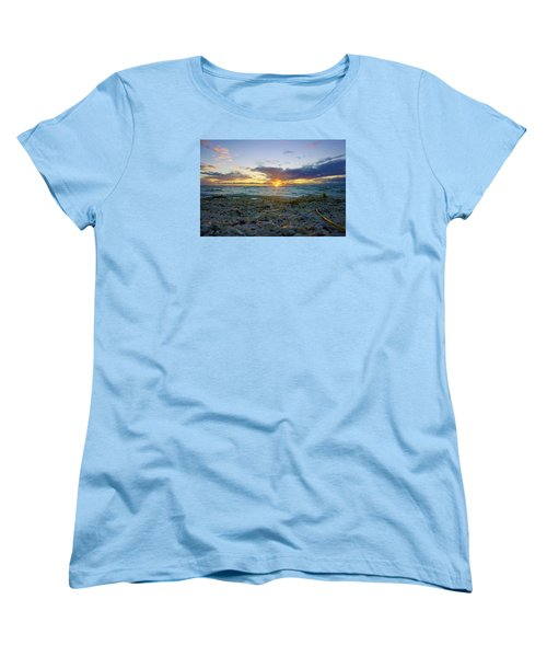 Women's T-Shirt (Standard Cut) featuring the photograph Shells On The Beach At Sunset by Robb Stan