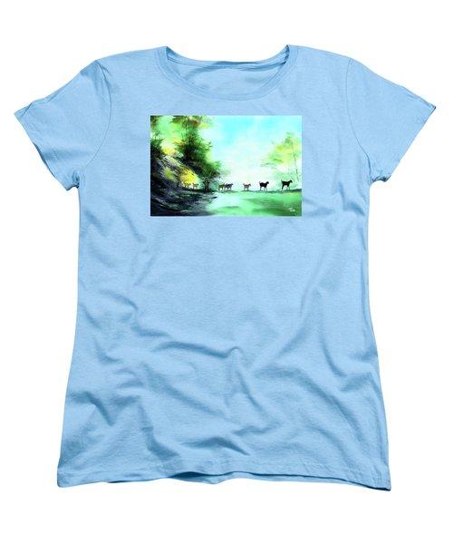 Women's T-Shirt (Standard Cut) featuring the painting Shepherd by Anil Nene