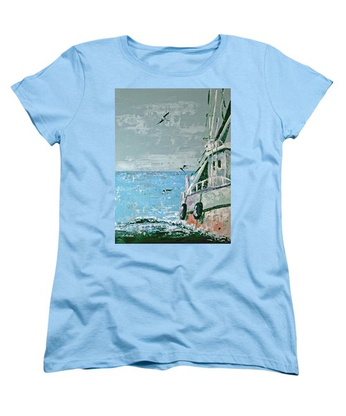 Women's T-Shirt (Standard Cut) featuring the painting Shrimp Boat In The Gulf by Suzanne McKee