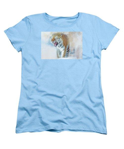 Siberian Tiger In Snow Women's T-Shirt (Standard Cut) by Brian Tarr