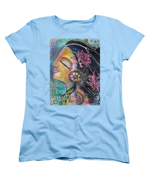Women's T-Shirt (Standard Cut) featuring the painting Side Face With Words by Prerna Poojara