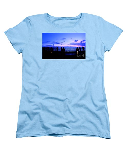 Women's T-Shirt (Standard Cut) featuring the photograph Silhouette Of People At Sunset by Yali Shi