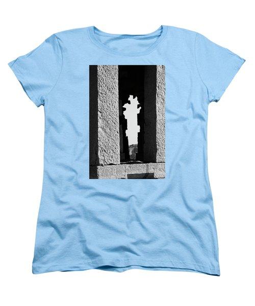 Women's T-Shirt (Standard Cut) featuring the photograph Silhouette Of Pillars, Hampi, 2017 by Hitendra SINKAR